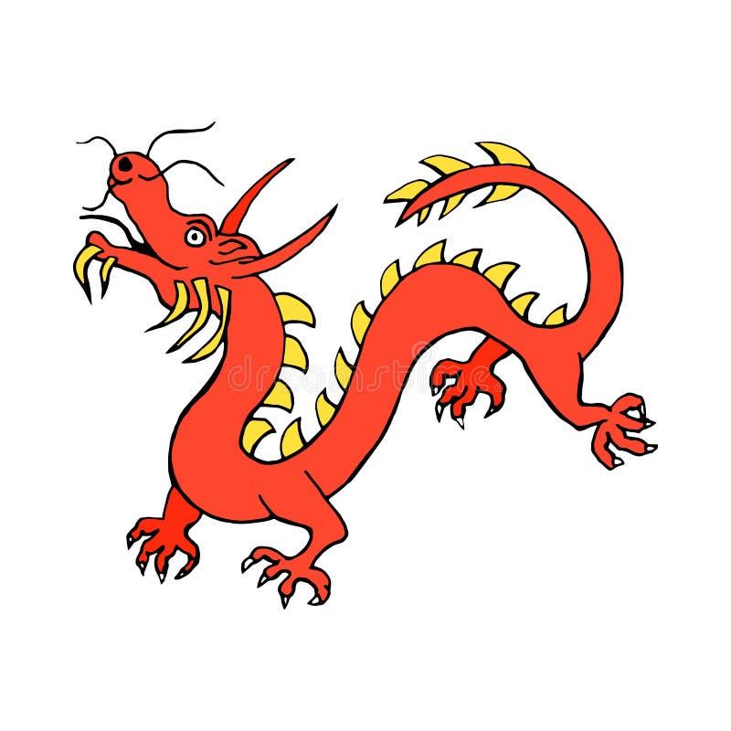 Röd pappers- symbol för symboler för drakeporslinzodiak som isoleras på vit bakgrund vektor illustrationer