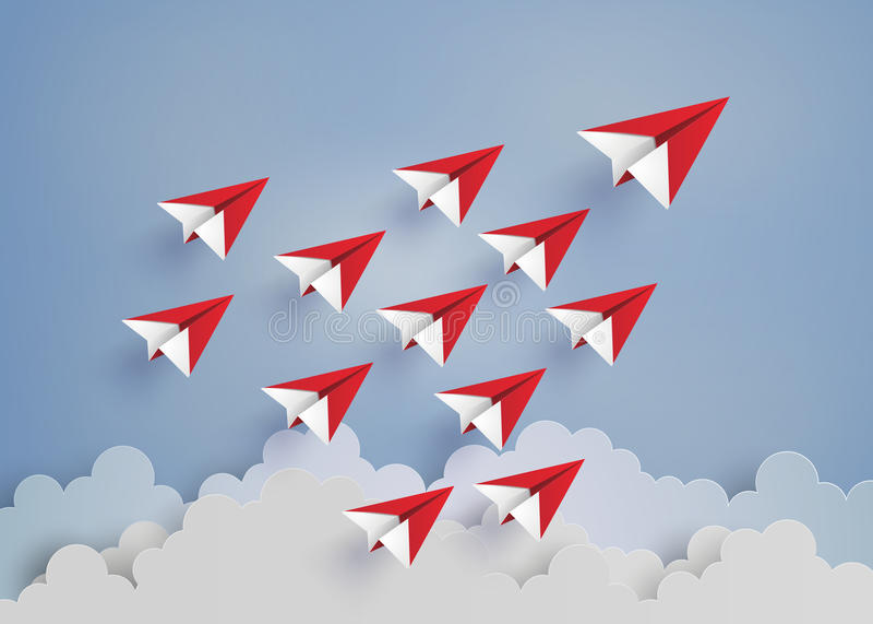 Röd pappersnivå på blå himmel stock illustrationer