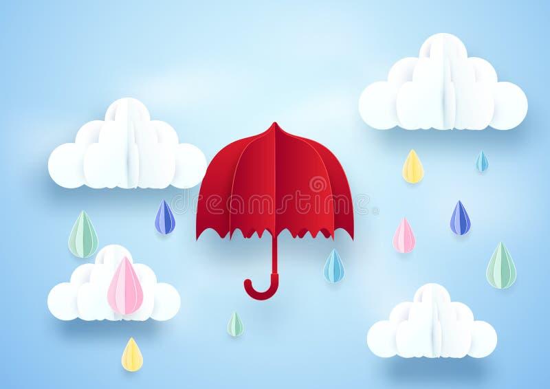 Röd paraply och regnigt på molnbakgrund vektor illustrationer