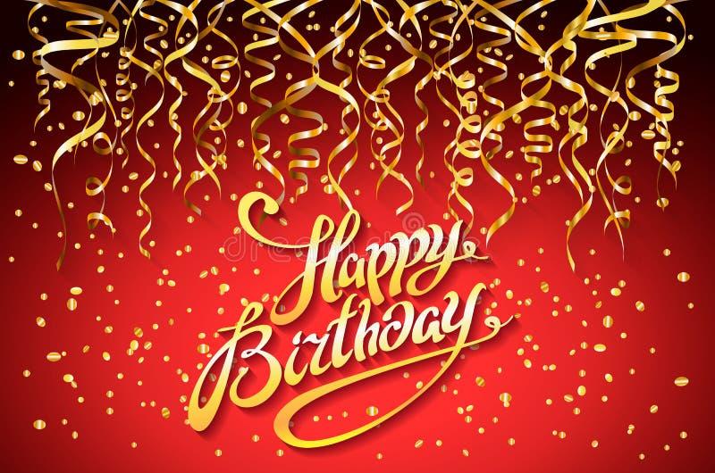 Röd partibakgrund för vektor Berömdesignen för den lyckliga födelsedagen, guld- konfettibeståndsdelar för vektorn, mall för hälsn vektor illustrationer