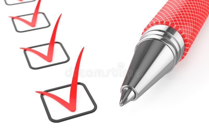 Röd penna på kontrollista stock illustrationer
