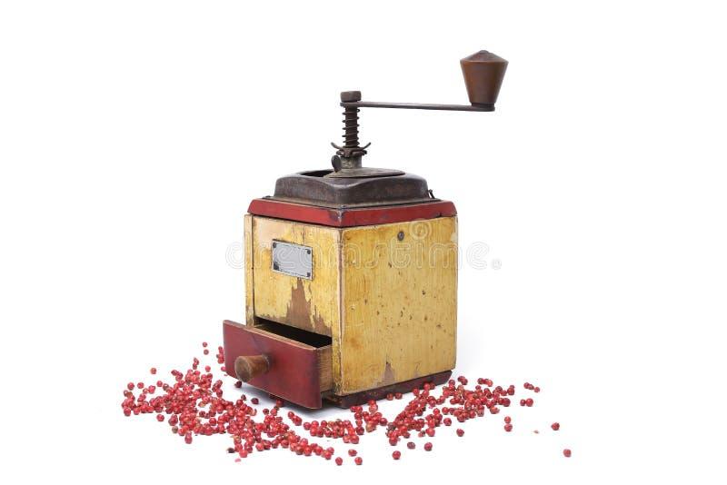 Röd peppar med gammal peppar maler arkivbild