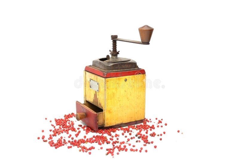 Röd peppar med gammal peppar maler på vit arkivbild