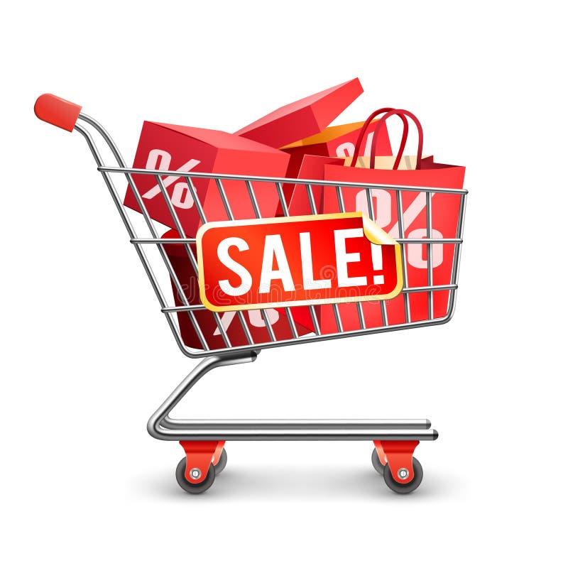 Röd Pictogram för Sale full shoppingvagn vektor illustrationer