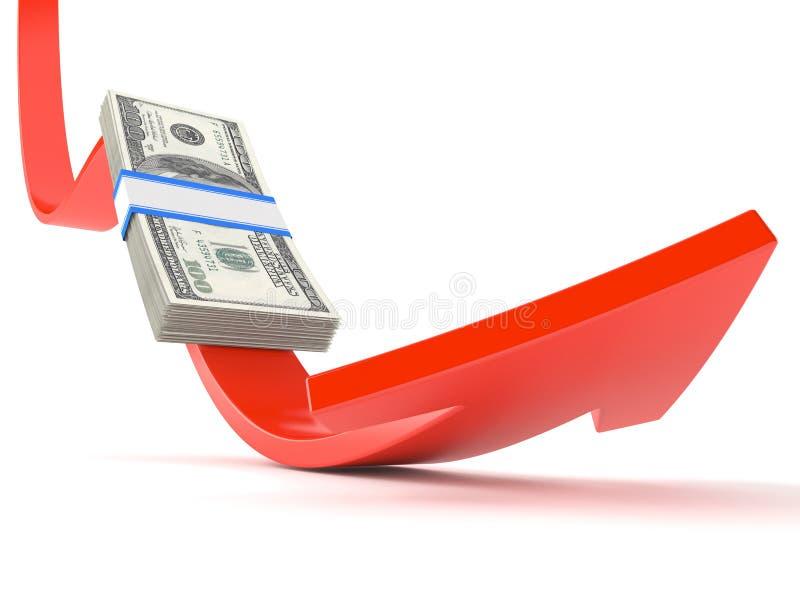 Röd pil med dollaren vektor illustrationer