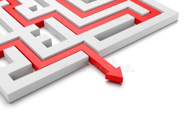 Röd pil som kommer ut ur en labyrint stock illustrationer