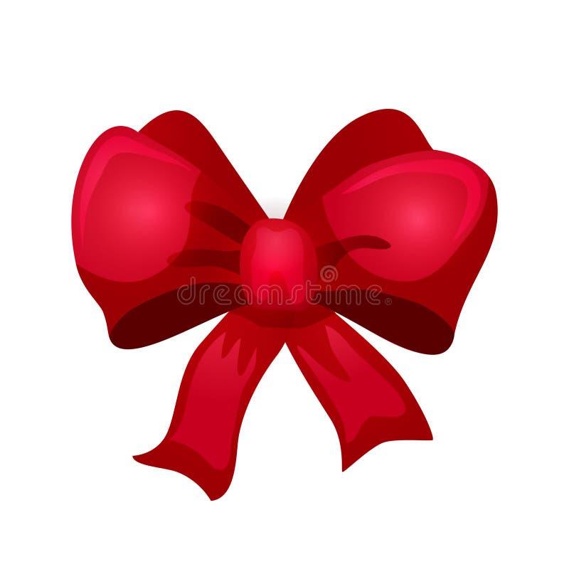 Röd pilbåge för skinande satäng för design lyckligt nytt kort för en hälsning för år och för glad jul vektor illustrationer