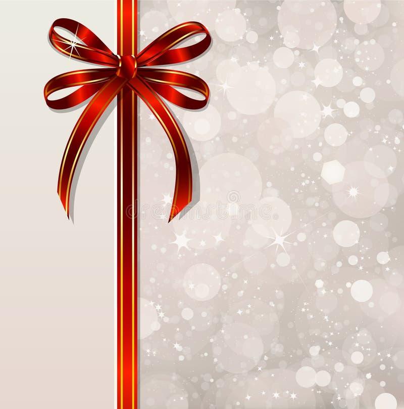 Röd pilbåge på en magisk julbakgrund. Vektor royaltyfri illustrationer