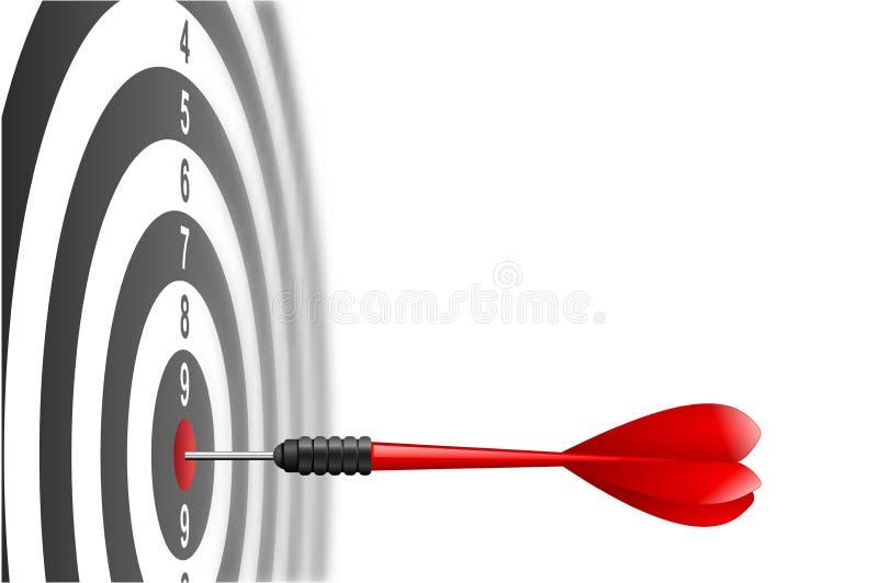 Röd pilpil för vektor som slår i målmitten av darttavlan Metafor som uppsätta som mål framgång, vinnarebegrepp Isolerat på vit royaltyfri illustrationer