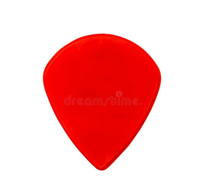 Röd plast- gitarr tjockt eller tung hacka som isoleras på vit royaltyfri bild