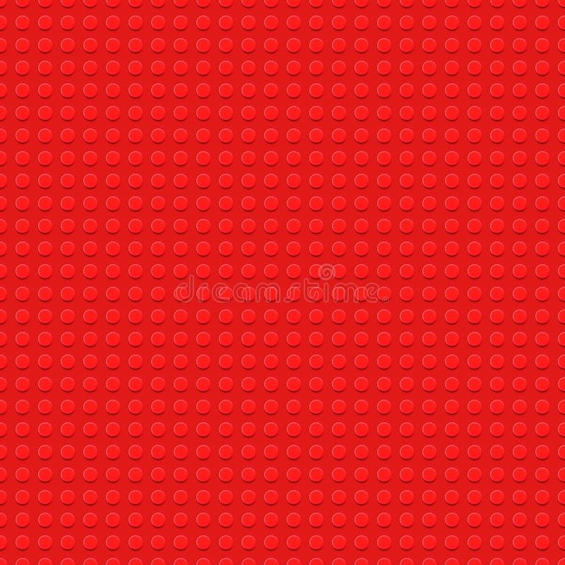 Röd plast- konstruktionsplatta - sömlös bakgrund för vektor Toy Blocks vektor illustrationer