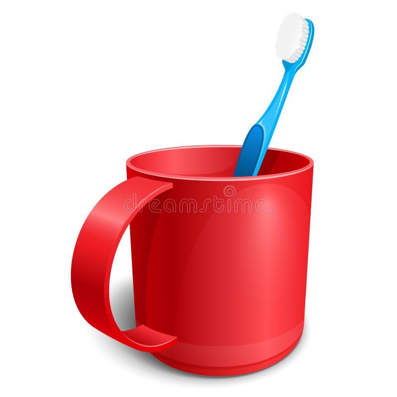 Röd plast- kopp med den blåa tandborstevektorillustrationen stock illustrationer