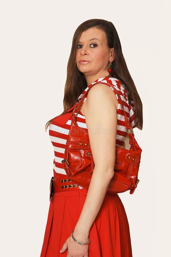 röd plattform studio för ladyhandväska royaltyfri bild