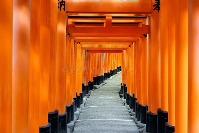 Röd portväg, toriikorridor i Fushimi Inari Taisha, Kyoto, Japan arkivbilder