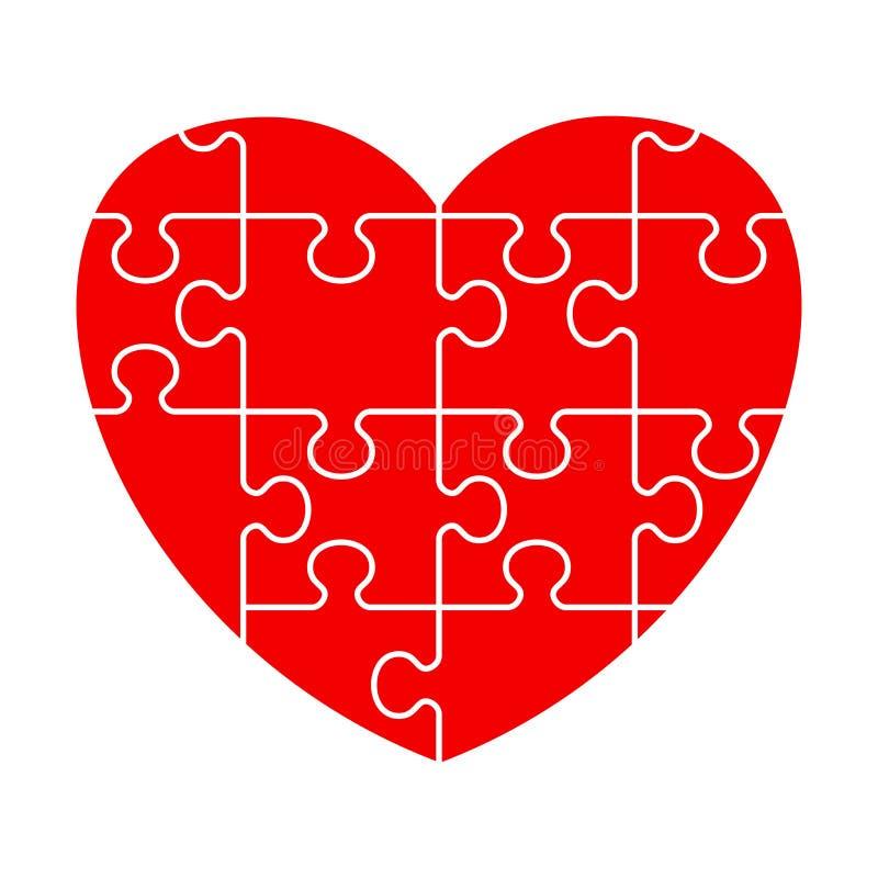 Röd pusselhjärta royaltyfri illustrationer