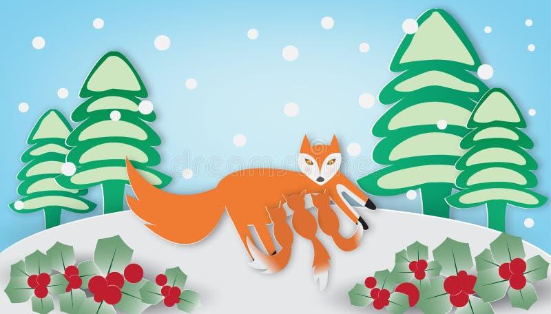 Röd räv och gröngöling i vintersäsong vektor illustrationer