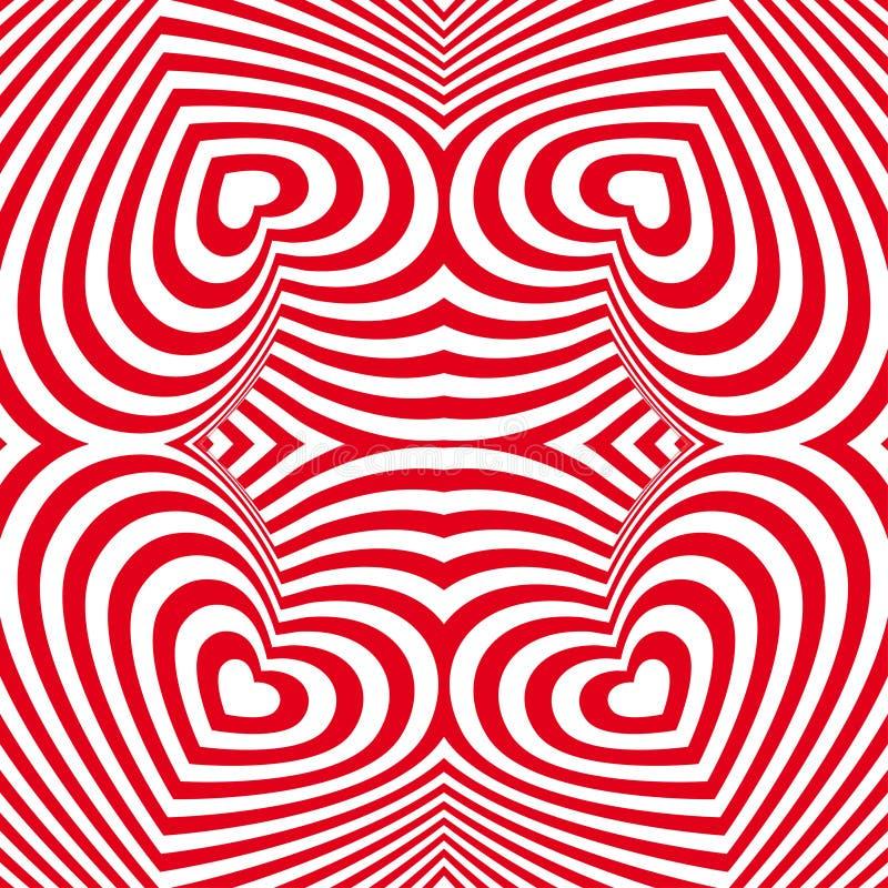 Röd röd och vit sömlös bakgrund för hjärtavalentindag royaltyfri illustrationer