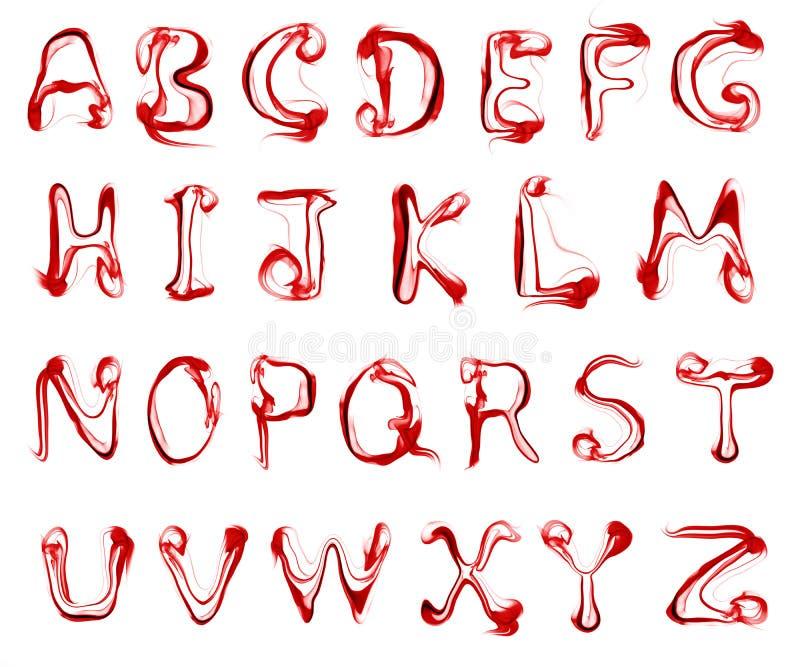 Röd rök märker alfabet stock illustrationer