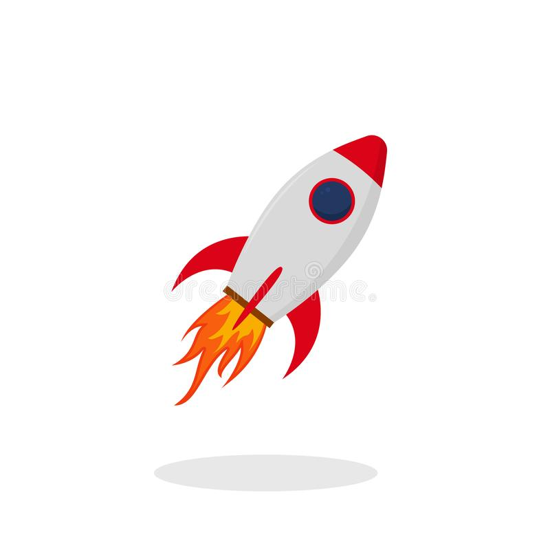 Röd raket för start i plan stil Lanseringsraketsymbol på isolerad bakgrund Röd anslutning med brand vektor royaltyfri illustrationer