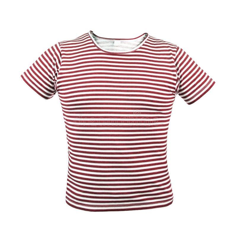 Röd randig T-tröja. Framdel. arkivbild