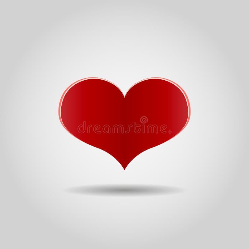 Röd realistisk hjärta på grå bakgrund Förälskelsesymbol, tecken Lycklig mall f?r h?lsning f?r dag f?r valentin` s ocks? vektor f? vektor illustrationer