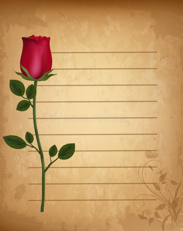 Röd realistisk ros på gammalt fodrat pappers- pergament med den blom- prydnaden stock illustrationer