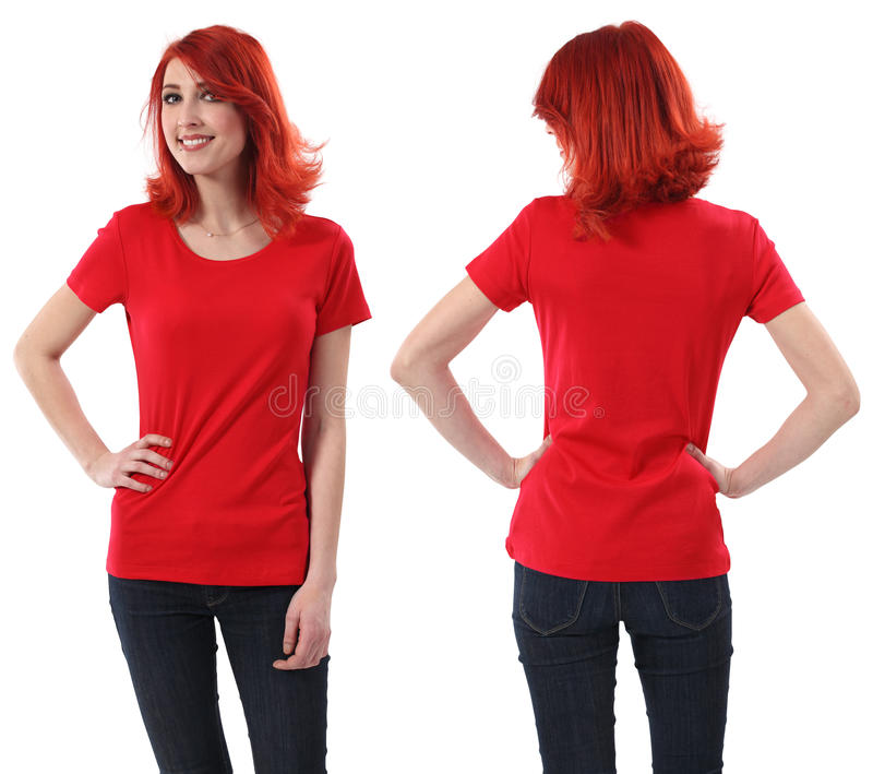 röd redheadskjorta för blank kvinnlig royaltyfri bild