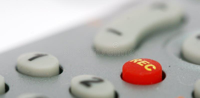 Röd rekord- knapp på en wireleesbefälhavare royaltyfria foton