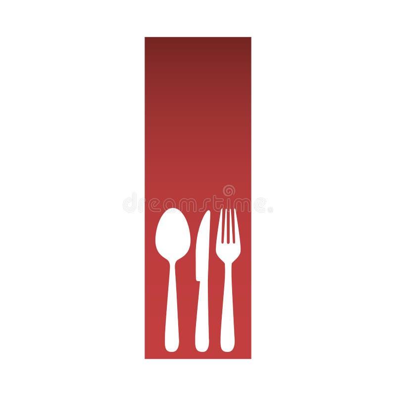röd rektangelbanerram med beståndsdelar för konturbestickkök vektor illustrationer