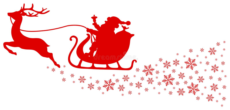 Röd ren för julsläde en med snöflingor vektor illustrationer