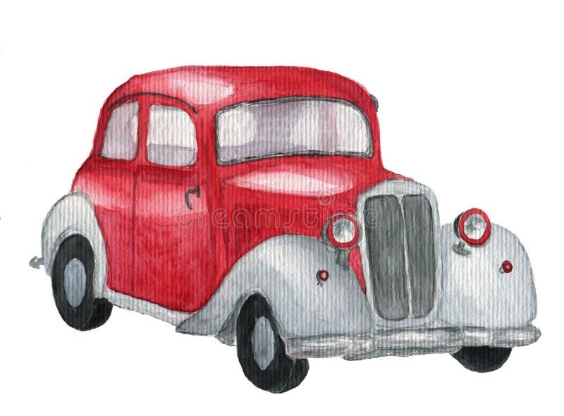 Röd retro bil för vattenfärg Hand dragen tappningbil på vit bakgrund Trans.illustration för design, textil och b stock illustrationer