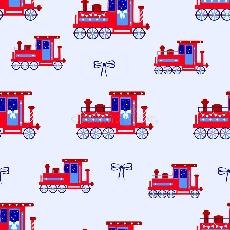 Röd retro lokomotiv, sömlös modell för barn på en blå bakgrund royaltyfri illustrationer
