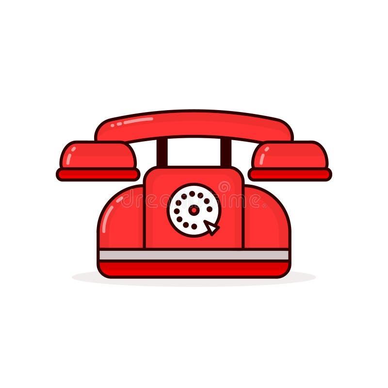 Röd retro tappningtelefon Modern vektor royaltyfri illustrationer