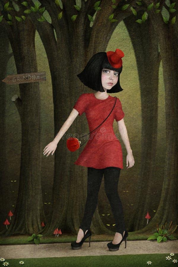 röd ridning för huv royaltyfri illustrationer