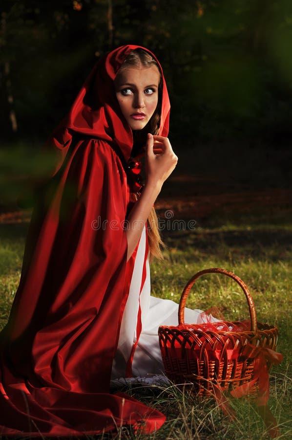 Röd ridninghuv arkivfoto