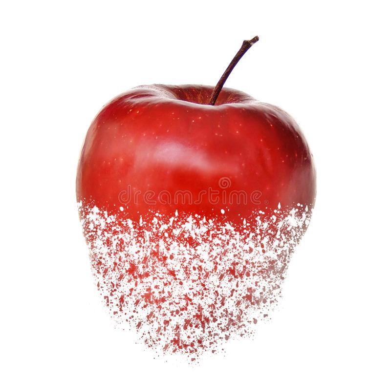 Röd riven sönder äpplefrukt royaltyfri foto