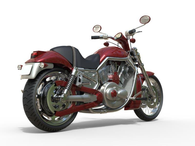 Röd roadstercykel - bakre sikt vektor illustrationer