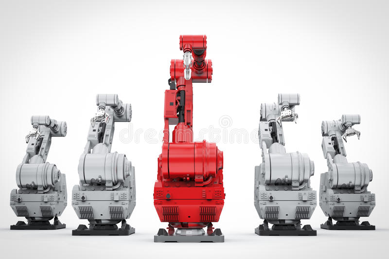 Röd robotic arm som en ledare royaltyfri illustrationer