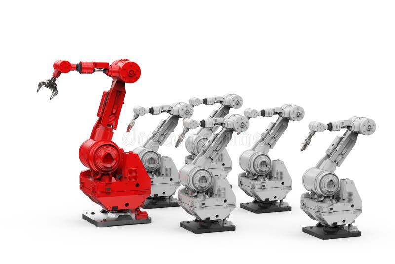 Röd robotic arm som en ledare stock illustrationer