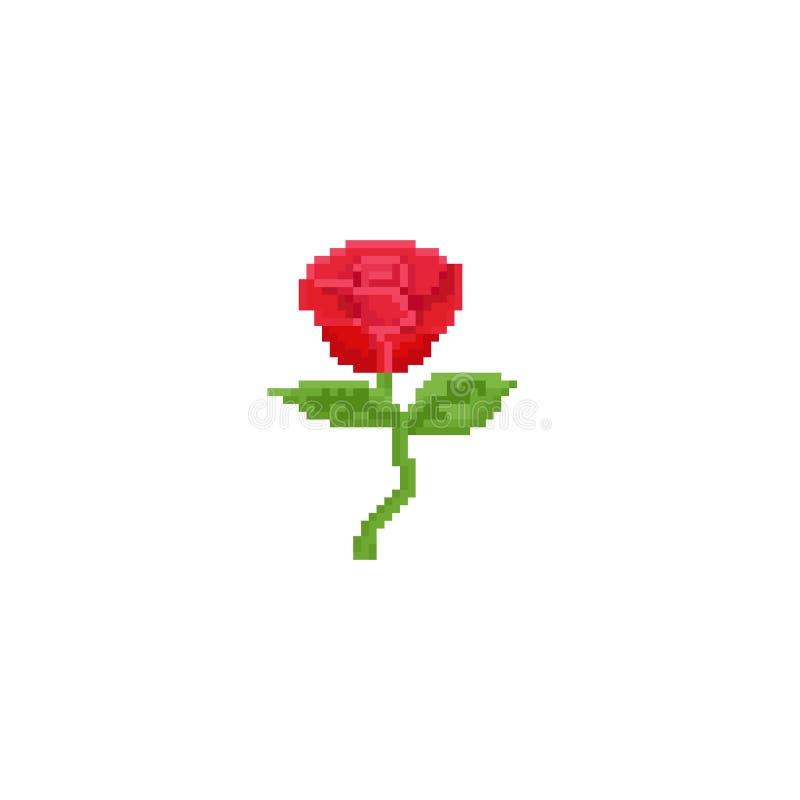 Röd ros för PIXEL blomma 8bit royaltyfri illustrationer
