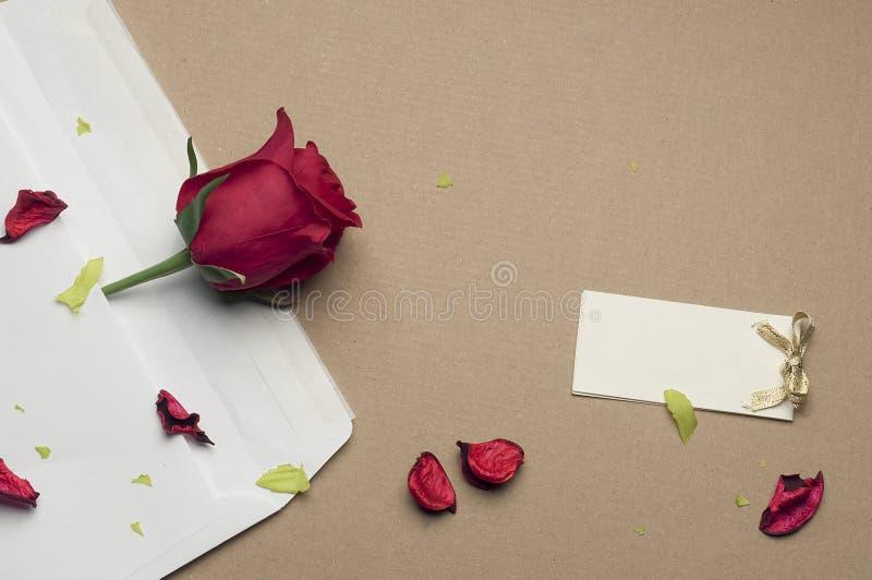 Röd ros i ett kuvert på ett ljus - brun bakgrund arkivfoto