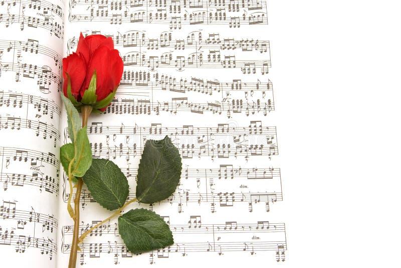 Röd ros och anmärkningshandstil royaltyfria foton