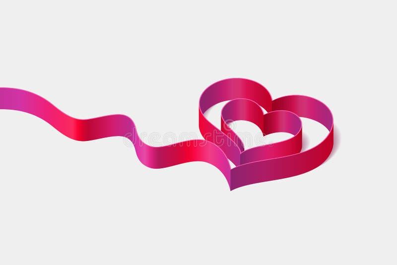 Röd-rosa färger band med hjärta-formad krullning royaltyfri illustrationer
