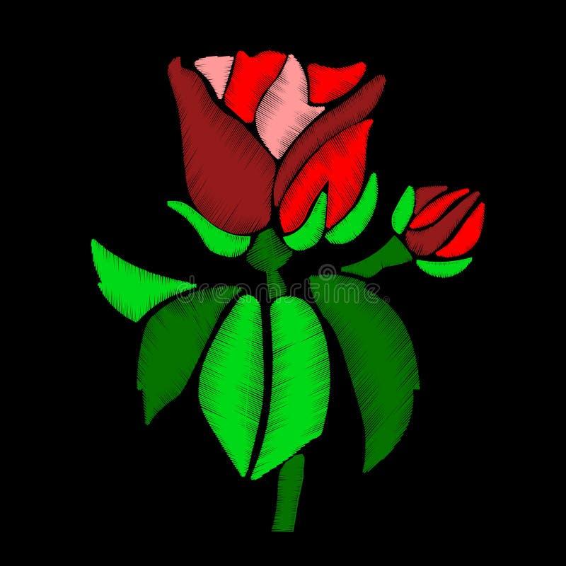 Röd rosblomma - broderi på svart bakgrund Du kan använda denna blomma som en mall för broderiprogramvara eller som en designele vektor illustrationer