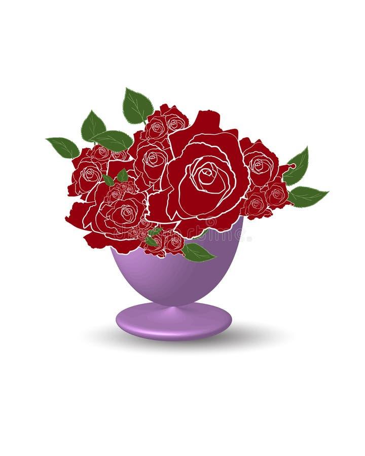 Röd rosblomma på vasillustratör stock illustrationer