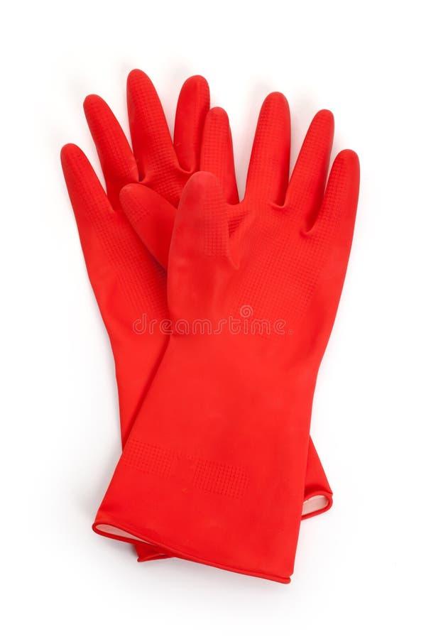 Röd Rubber handske arkivbild