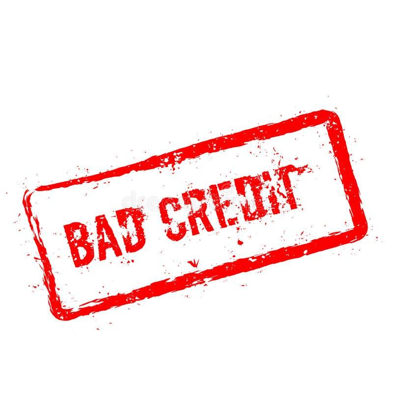 Röd rubber stämpel för dålig kreditering som isoleras på vit vektor illustrationer