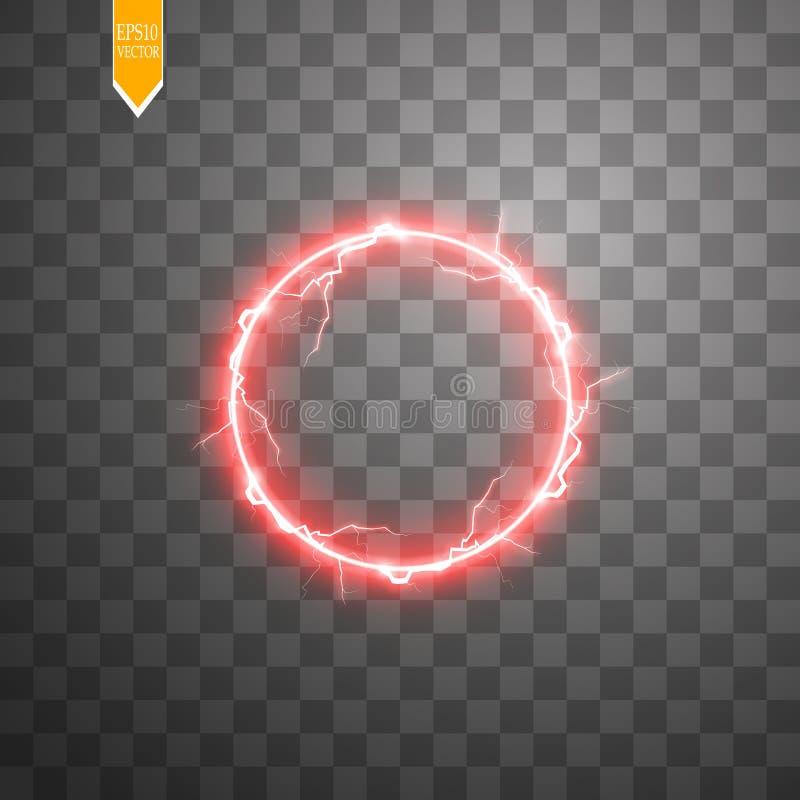 Röd rund ram Glänsande cirkelbaner Isolerat på svart genomskinlig bakgrund också vektor för coreldrawillustration royaltyfri illustrationer