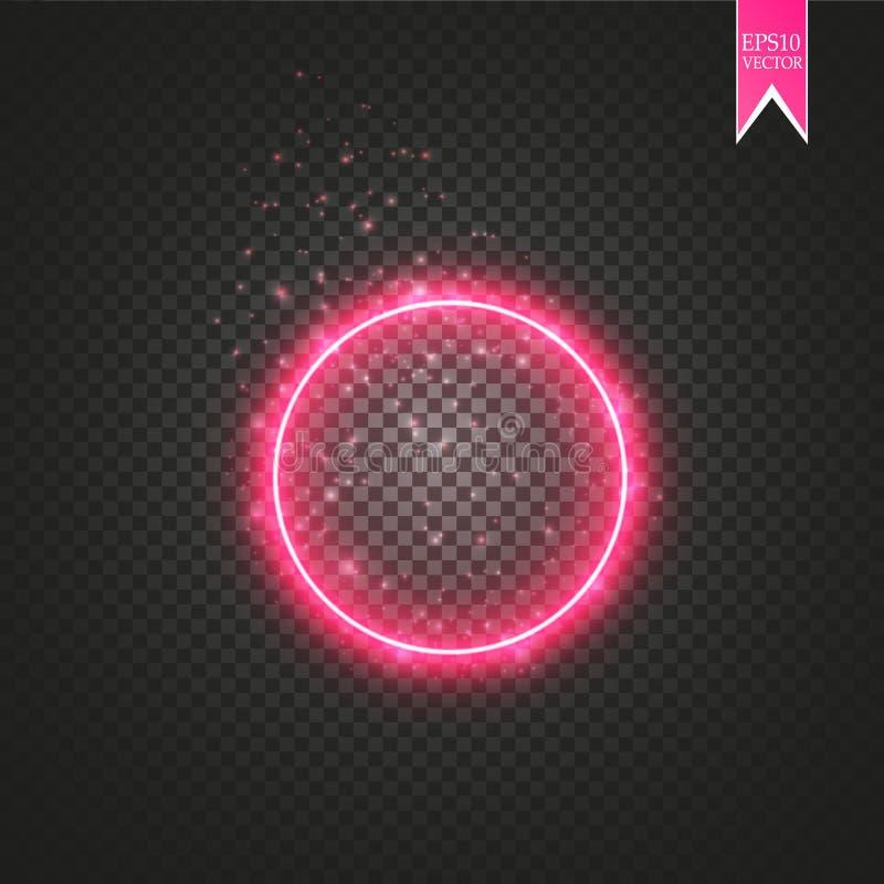 Röd rund ram Glänsande cirkelbaner Isolerat på svart genomskinlig bakgrund också vektor för coreldrawillustration vektor illustrationer