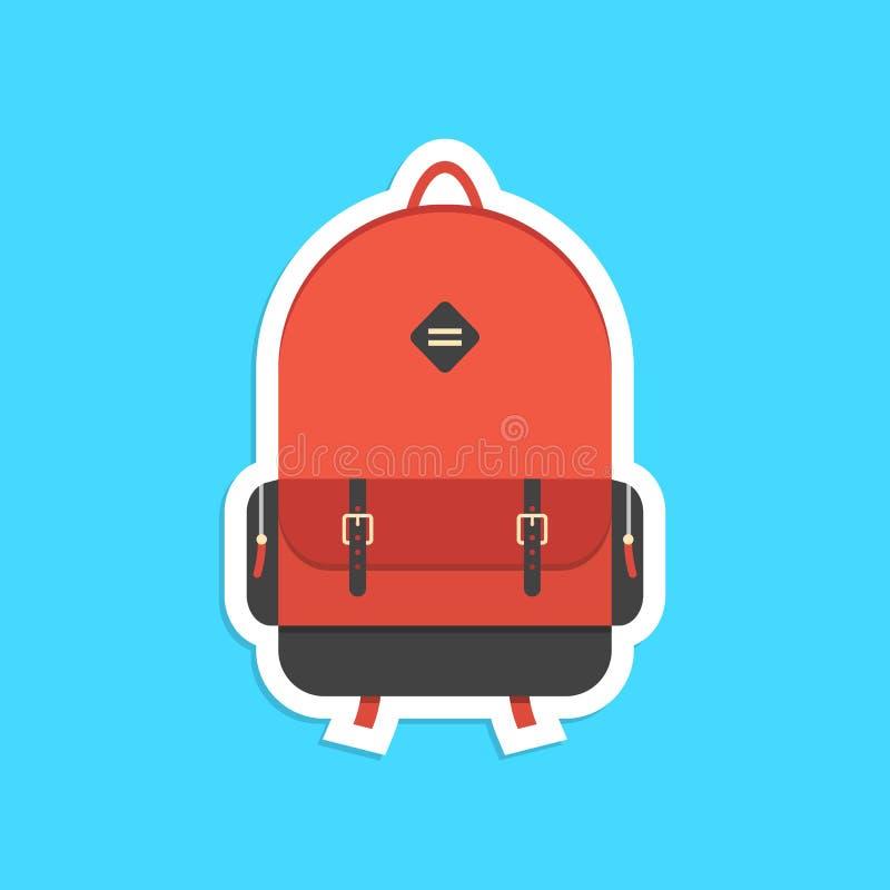Röd ryggsäckklistermärke med skugga royaltyfri illustrationer